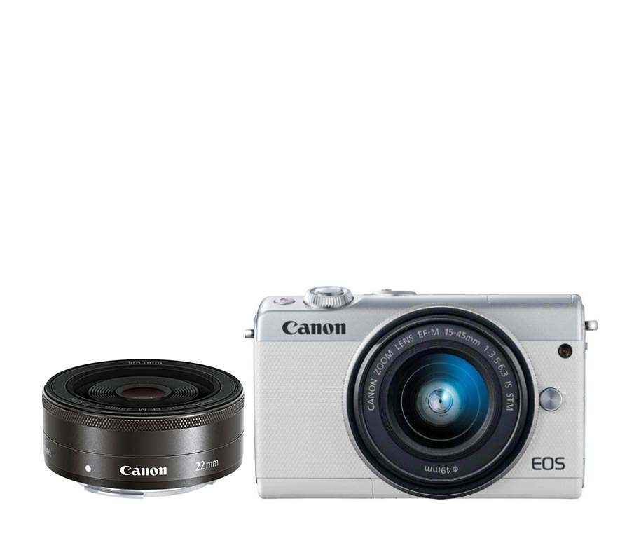 Canon EOS M100 EF-M 15-45 IS STM + EF-M 22 STM White