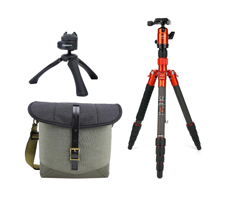 Fotopro Tripod X-go Carbon Orange + Vanguard Veo Travel 21BK + Tripod SY-310